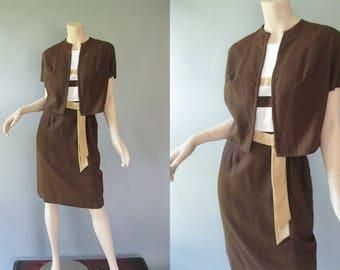 Color Block Dress - 70s Linen Dress with Jacket  -Sleeveless Shift Dress Bolero Jacket - Matching Belt - Womens Larger Size