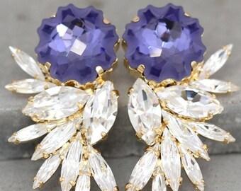 Purple Earrings, Statement Earrings, Swarovski Chandelier Earrings,Bridal Earrings,Cocktail Earrings,Big Earring, Orchid Wedding Earrings