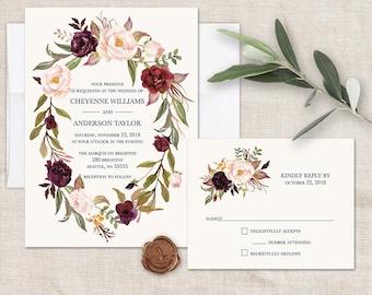 Floral Wreath Wedding Invitations Marsala Wedding Burgundy Blush Wine Bohemian Wedding Invite RSVP Rustic Floral Wedding Template Printable