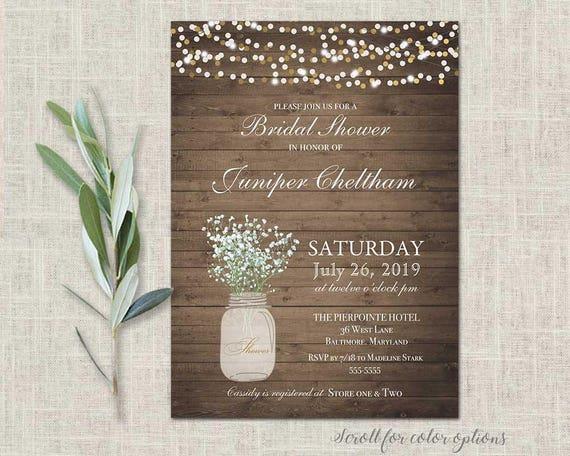 mason jar bridal shower invitations rustic wedding shower babyu0027s breath wedding shower country floral string lights