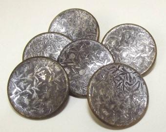 Antique Buttons ~ Metal Button Set Tinted Etched Asian Motif Buttons