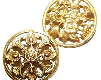 Antique Metal Buttons Open Work Floral Designs