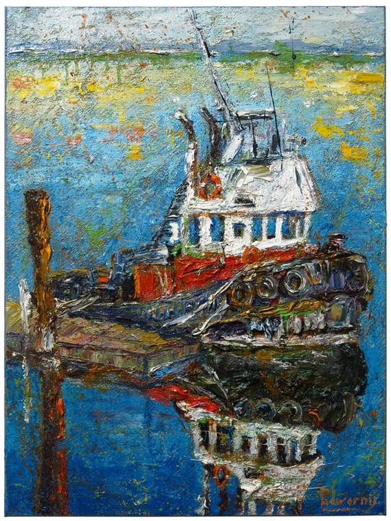 SOLD - Oil Paint on Stretched Canvas of 24 by 18 by 3/4 in./ Original oil painting landacape tugboat art boat abstract ocean signed nautica
