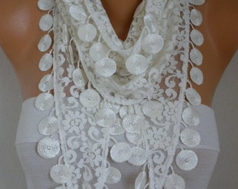 Creamy White Lace Scarf -Wedding  scarf shawl, gift for her mom, summer scarf- fatwoman