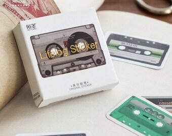 45 Pcs Cassettes Planner Stickers Decorative Stickers Die Cut Stickers