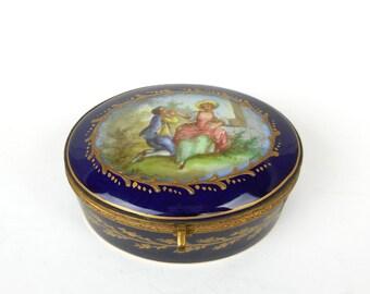 Antique Porcelain Box Sevres Cobalt Gold Chateau des Tuileries Shabby French Decor