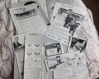 Vintage Ephemera Pack 100 Year Old Magazine Ads 26 Pack