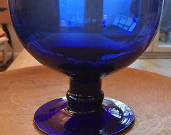 A Vintage Cobalt blue glass footed bowl.