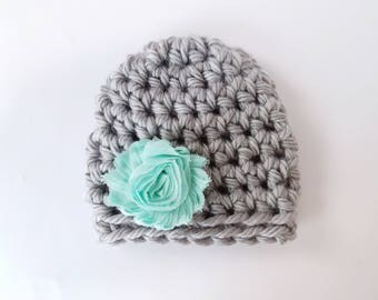 Newborn Beanie / Baby Shower Gift Girl / Infant Girl Hat / Baby Girl Hat / Newborn Girl Hat / Crochet Baby Hat / Baby Girl Beanie
