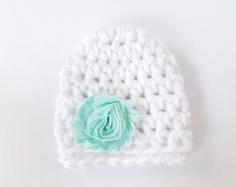 Newborn Girl Hat / Baby Girl Hat / Crochet Newborn Hat / Infant Girl Hat / Baby Shower Gift Girl / Baby Girl Beanie / Crochet Baby Hat