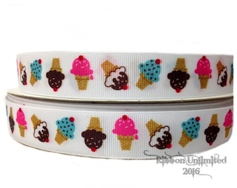 5 Yds WHOLESALE 7/8 Inch ICE CREAM Treat grosgrain ribbon Low Shipping Cost