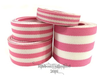 10 Yds WHOLESALE Hot PiNk TAFFY Stripes grosgrain ribbon LOW Shipping Cost