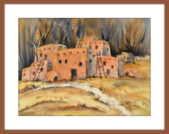 Southwestern Watercolor, Pueblo Watercolor, Adobe Art, Santa Fe Art, Taos Pueblos, Warm Palette, Martha Kisling