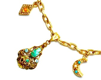 "Victorian Charm Necklace Crescent Moon Heart Turquoise Jewelry ""Charming"" HeHe 31"""