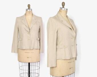 Vintage 50s Linen BLAZER / 1950s Textured Natural Linen Belt Detail Suit Jacket L