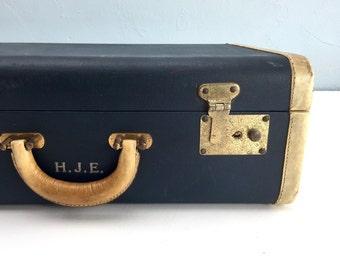 Vintage White Star Suitcase, Blue Antique Luggage