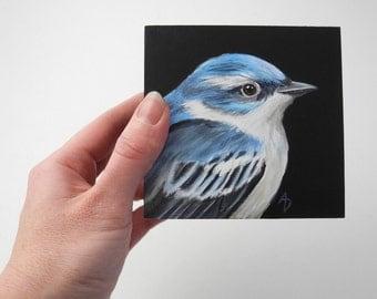Cerulean Warbler painting - blue bird art - blue songbird - realistic wildlife art - woodland bird art - sapphire blue - birdwatching gift