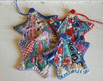Cute set of 4 vintage quilt Christmas star gift tags, fabric gift tag, Christmas ornament, coaster set, scrapbook, Christmas decor