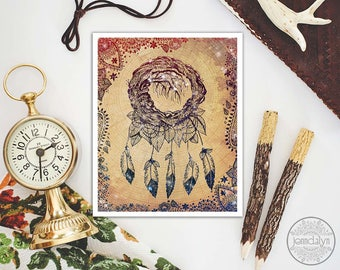 dream catcher print - bohemian decor - dreamcatcher art - prints - boho decor