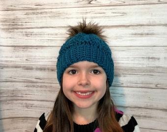 Girls Fur Pom Pom Crochet Cable Hat, Fits 3 year to 10 years old , Custom order, Custom colors, Custom pom pom, Winter Beanie, Photo Prop
