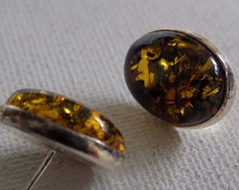 Vintage earrings, faux golden amber and sterling silver stud earrings, vintage jewelry