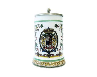 German Milk Glass Beer Stein - Vintage Mug - Drinking Tankard - Original BMF Bierseidel Bierseidel - Brewiania Barware - Man Cave Decor