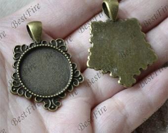 5pcs Antique bronze rose round Cabochon pendant tray (Cabochon size 20mm),bezel charm findings,lacework findings,cabochon blank finding