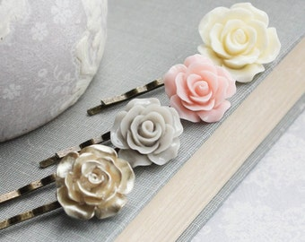Gold Rose Bobby Pins Ivory Cream Floral Hair Accessories Blush Pastel Pink Rose Hair Clip Flower Bobbies Romantic Vintage Style Country Chic