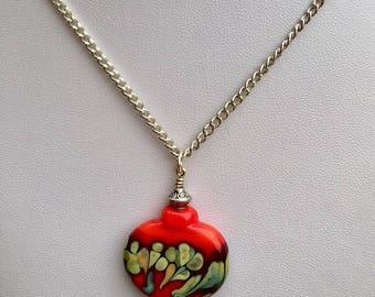 Lampwork Brighten red Pendant bead necklace