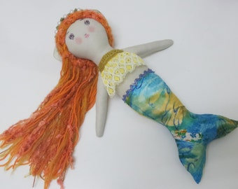 Mermaid doll, Orange hair mermaid doll, Mermaid rag doll