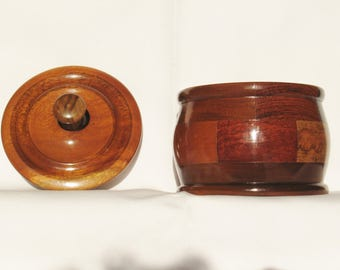 Hand Turned Wood Bowl #76/ Segmented Wooden Bowl / Wooden Bowl with Lid/ SHIPPING INCLUDED
