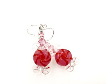Peppermint Earrings, Christmas Earrings, Lampwork Glass Bead Earrings, Red Pink Dangle Earrings, Lampwork Jewelry, Beaded Earrings