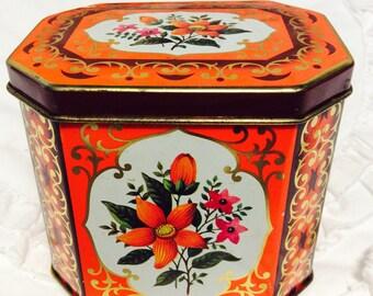 Vintage Orange Floral Tin Box with Hinged Lid 1960s Flower