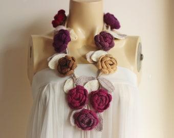 Pastel Crochet Scarf-Rose Scarf-Necklace Lariat Scarf-Purple, Fuchsia,Gamel,Brown Scarf