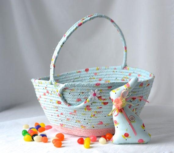 Flower Girl Basket, Handmade Easter Basket, Girl Storage Organizer, Blue Spring Basket, Easter Bucket, Wedding Card Holder
