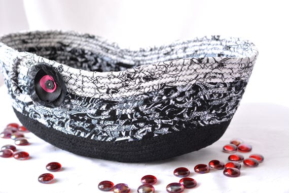 Decorative Black Basket, Handmade Coiled Fabric Basket, Lovely Black and White Kitchen Bowl, Black Remote Control Holder