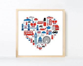 London Art Print , Union Jack British Artwork , Red Blue England Art Poster , Large Wall Art , British Nursery Art , British Decor Wall