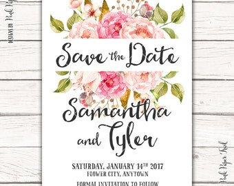 Printable Save the Date Wedding Invitation, Floral Wedding, v.1 Symphony of Flowers, DIY Wedding, Print Your Own