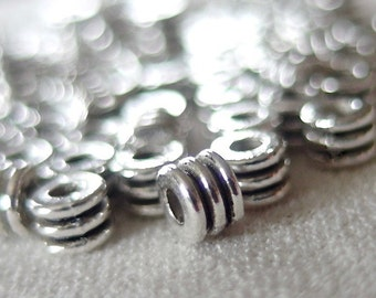 100pc Small Silver Rondell 3-tiered Antiqued Spacer Beads, 4mm x 3mm, 1.5mm hole, pkg 100 pieces