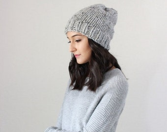 End of season SALE Classic Slouchy Chunky Knit Wool Beanie Ribbed Hat, winter beanie toque hat, gifts for him her // The Oslo Beanie - GREY