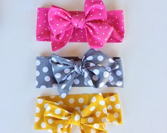 New pick one! Polkadot Fabric bow headband
