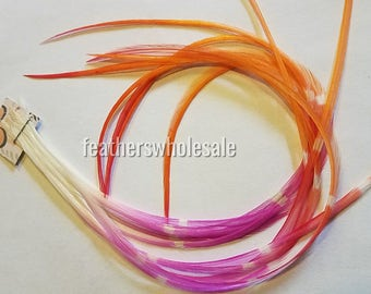 Sunrise Orange Magenta White Tie Dyed Feather Hair Extension Supplies Pink Orange Feathers for Crafts (What you see is what you get) QTY11
