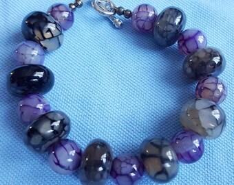 Handmade Dragon Vein Agate Bead Bracelet