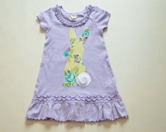 Size 4 Girls Easter Bunny Dress, Ready to Ship, Purple Bunny Dress, Fits Like 4T Tunic 3T Dress, Applique Rabbit Spring Green White Lilac