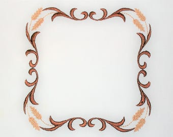 Wheat Filigree frame embroidered quilt label to customize with your personal message
