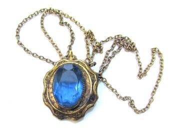 Vintage Blue Rhinestone Pendant 1910s-1920s Necklace