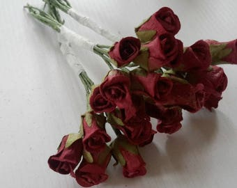 3 bunches PAPER ROSEBUDS burgundy vintage flowers wired stems