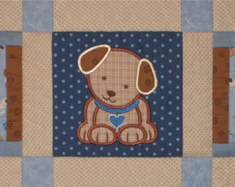 Baby Boy Quilt, puppy dog, Custom Made baby shower gift idea
