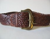 Neiman Marcus Italy wide sienna brown braided woven leather vintage belt huge gold buckle 80s 90s size M
