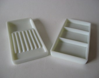 Two Rivers Wisconsin American Cabinet Co. vintage white milk glass tool trays medical dental industrial decor